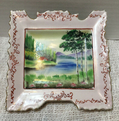 Unusual Made In Japan Hand Painted Square Plate Porcelain Picture & Frame
