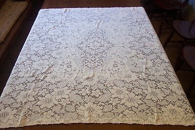 "Vintage Quaker Lace Ivory Flowered Tablecloth with Picot Loops  54"" x48"""