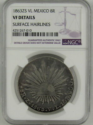 MEXICO 1863 Zs VL 8 REALES NGC VF DETAILS