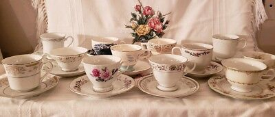 Vintage Mismatched China Tea Cup and Saucer Sets Lot of 12 Floral  Wedding