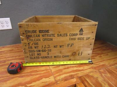 Vintage 1966 Wooden Crate Advertising Box Crude Iodine Chilean Nitrate Sales Co