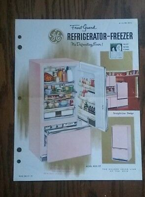 Vintage General Electric Pink Refrigerator Advertisement  1960's Model BGS-13T
