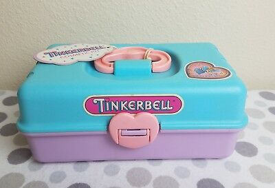 Vintage Tinkerbell cosmetics Redbox Makeup Organizer caboodle Case HTF New blue