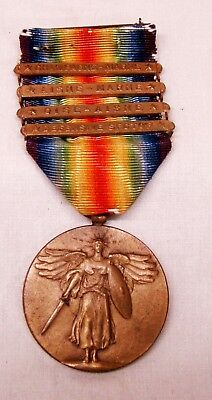 WW1 US Victory medal and ribbon $battle bars