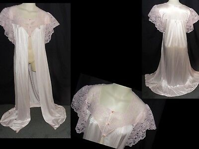 "VTG M-L Bust 44"" KAYSER OPEN FRONT LACY LONG PINK NYLON FEMININE NIGHTGOWN ROBE"