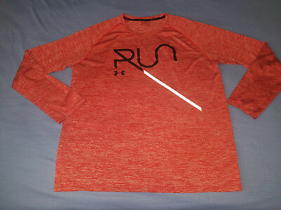Under Armour Run   Xxl Red   Mens Reflective Running Ls T Shirt   New