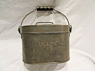 Vintage Early Metal Tin Atlantic 5 Railroad Coal Miner's Lunchbox Pail, 4-Piece