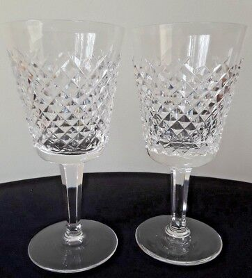 "Pair! Waterford Crystal Alana Wine Glasses Goblets 7"" Stems Signed NR"