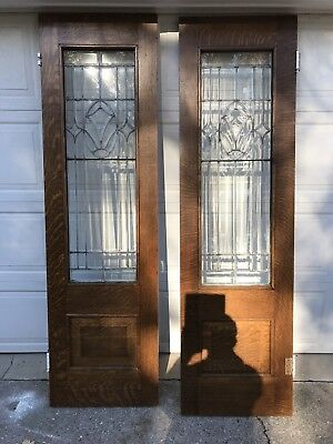 Antique Tiger Oak Leaded Beveled Glass French Doors