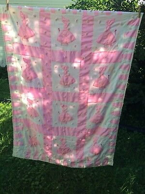 Vintage Child's Pink And White Hand Embroidered And Appliquéd Quilt