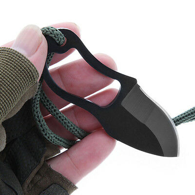 Mini Pocket Finger Paw Self-Defence Survival Fishing Neck Knife W/ Sheath Tool