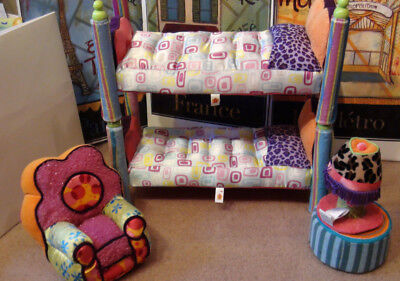 """Groovy Girls Bunk Beds Bombastic ~ Lot Chair lamp table ~ Fits Barbie Tonner 16"""""""