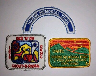 Set ot 3 Vintage Boy Scouts of America Patches Horine Memorial Trail