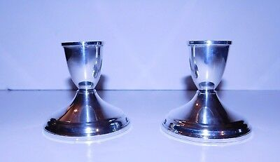 "Pair Duchin Creation Sterling Silver Weighted Candlesticks 3 1/4"" Tall 402 grams"