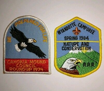 Set of 2 Vintage Boy Scouts of America Patches BSA Eagle