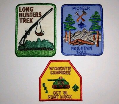 Set of 3 Vintage Boy Scouts of America Patches BSA Long Rifle Army Tank