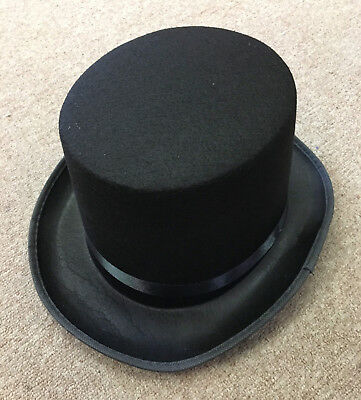 Tall Black Top Hat Victorian Steampunk Magician Ringmaster Costume Accessory