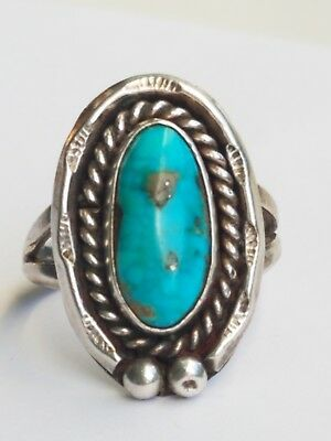 Vintage Sterling Silver Webbed Turquoise with Pyrite  Navajo Rope Ring sz 7.5