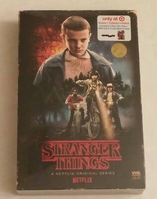 NEW! Stranger Things -Season 1 Target Edition 2 Blu-Ray/2 DVD, poster in VHS box