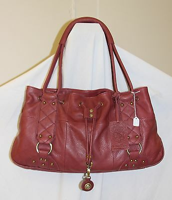 NEW ROUGH ROSES Wine Red Leather RILEY Drawstring Tote Bag $348