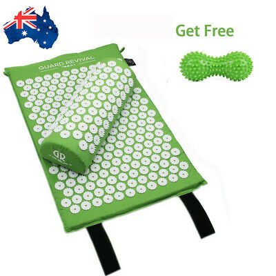 Acupressure Mat and Pillow Set Back Neck Pain Stress Tension Muscle Relax Green