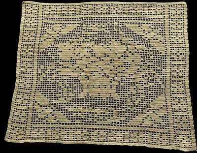 "Early Vintage Ecru Crochet Pillow Sham Cover Flowers & Butterfly 14 1/2"" x 12"""