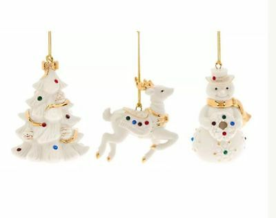 New Lenox Holiday Gems Tree Ornaments Snowman Tree and Reindeer Set of 3