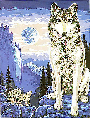 """""""Wolf Lookout"""" Tapestry WOOL kit to stitch- 50 x 60cm-last one -retired design"""