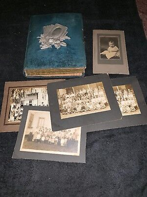 Rare Antique Victorian Velvet Photo Album w/ 28 Photos Maryland Family Children