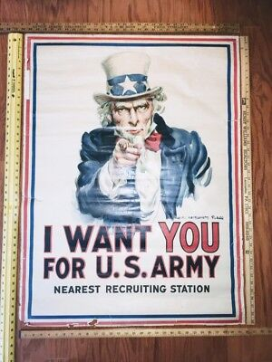 "ORIGINAL1917 Uncle Sam WW1 Recruiting POSTER,I Want You For US Army 40.1""x29.9"""