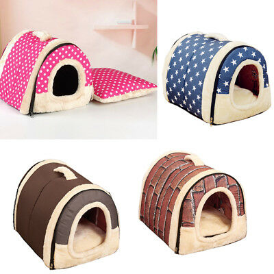 Foldable S / M/L Pet Dog Cat Bed House Kennel Puppy Indoor Warm Tent Plush Igloo
