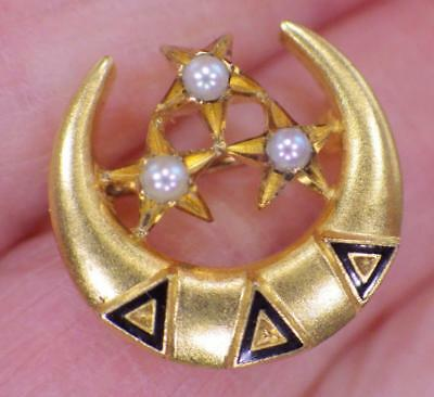 10K GOLD Vintage Tri Delta Crescent Stars Lapel Pin 1.876 Grams Seed Pearls