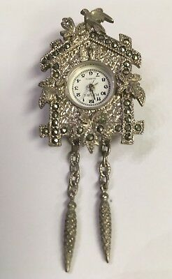 Vintage Futura~Marcasite~*CUCKOO CLOCK*~Watch Pendant or Pin Brooch - NO CHAIN