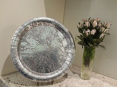 Vintage STEPHEN DALY LARGE Metal SERVING TRAY DISH Signed and Dated 1979