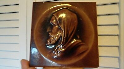 kensington tile pottery 1890 old man brown glaze antique potterykentucky 6 x 6