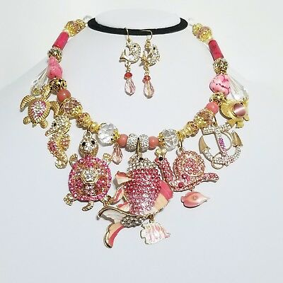 Pink Crystal Necklace Betsey Johnson Fish Anchor Snail Turtle One of a Kind