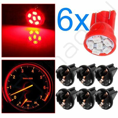 6pcs Red T10 168 6-SMD LED Bulbs Instrument Panel Dash Light Lamps w/ Sockets