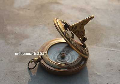 "2"" Antique Brass Push Button Sundial Compass Vintage Marine Pocket Compass Gift."