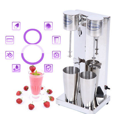 Commercial Stainless Steel Milk Shake Machine Double Head Drink Mixer 110V 2cups