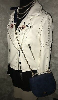 BLANK NYC Midsummer Dream Vegan Faux Leather Embroidered Studded Moto Jacket - M