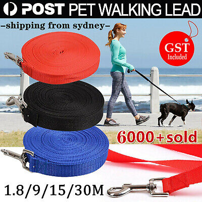 1.8/9/15/30M Long Nylon Dog Pet Puppy Training Obedience Recall Lead Leash Track