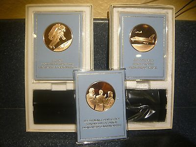 NASA Columbia Space Shuttle Franklin Mint 3 Fine Bronze Coin Medals LOOK@@