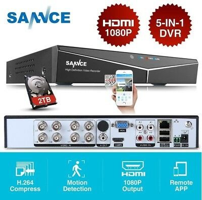 SANNCE HD 8CH 1080P HDMI 5in1 DVR CCTV Video Recorder for Security System+2TB