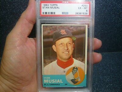 1963 Topps Stan Musial #250 PSA 6 EX-MINT HOF Sharp Photo Gorgeous!!