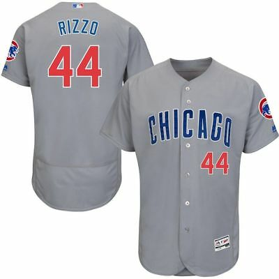 557b087bd63 BRAND NEW! GRAY! Chicago Cubs Majestic  44 Anthony Rizzo DUAL patch ...