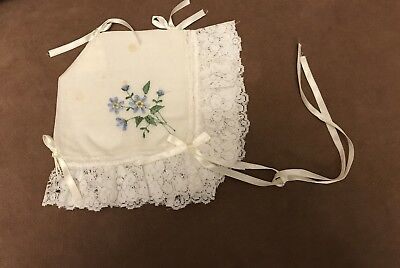 Vintage Baby Bonnet With Flowers And Lace Trim
