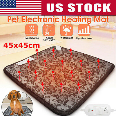 110V Waterproof Pet Electric Pad Blanket Heated Heating Mat Dog Cat Bunny Bed US