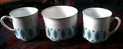 Vintage Retro English Ceramic Blue, White & Black Sugar Bowl and 2 Coffee Cups