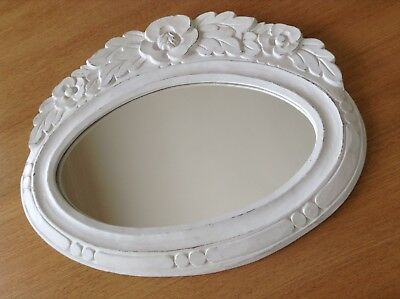 Shabby Chic Oval Mirror -  White Timber Frame - Carved Floral Design.