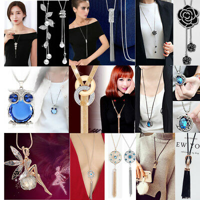 CHIC Women's Crystal Tassel Pendant Long Chain Sweater Necklace Jewelry Gift HOT